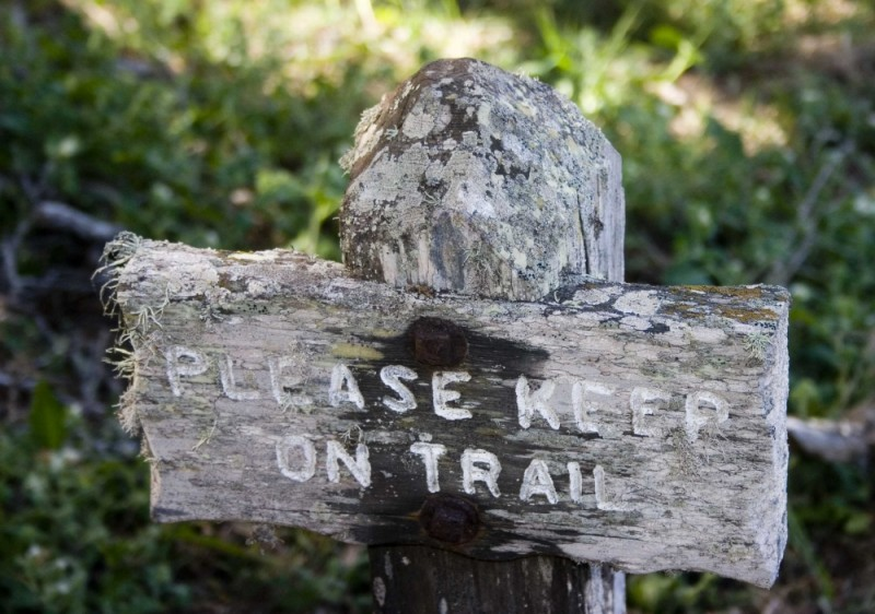 Weathered trail sign