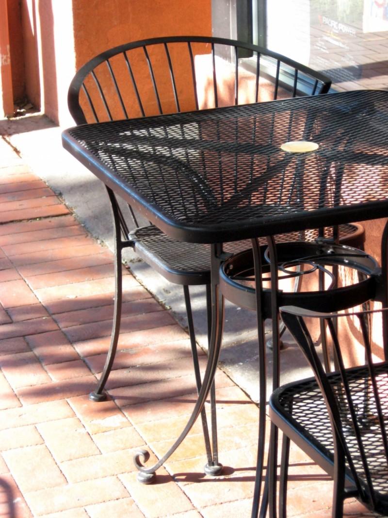 Table outside of bakery.