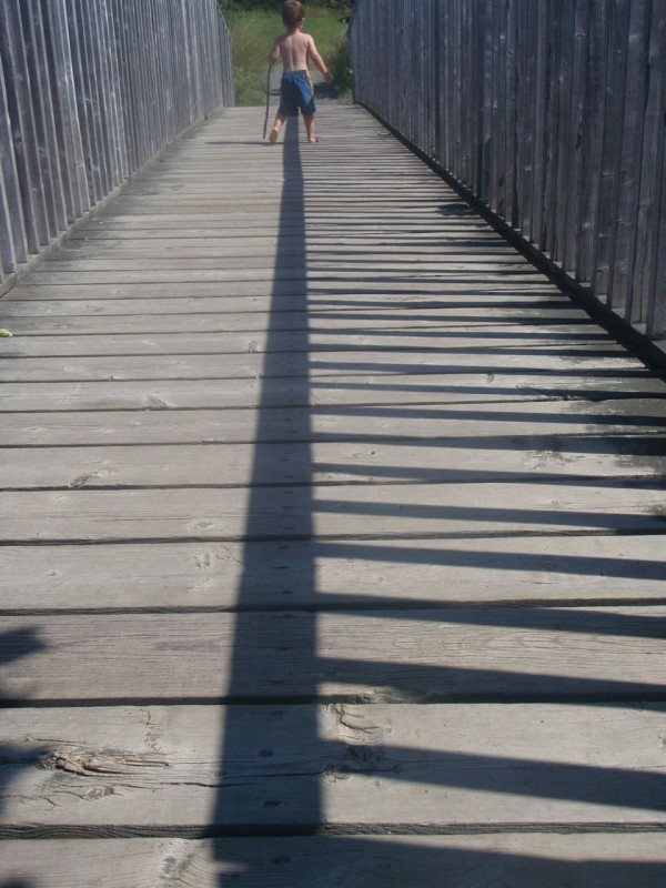 footbridge with railing shadow