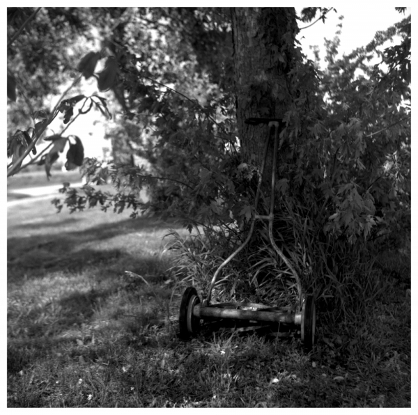 old push mower - b&w photo, rolleiflex