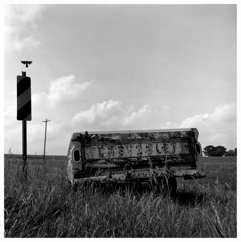pickup bed trailer - b&w photo with rolleiflex