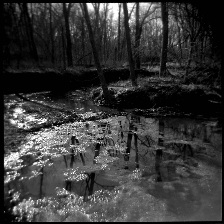 holga photo of a creek, b&w