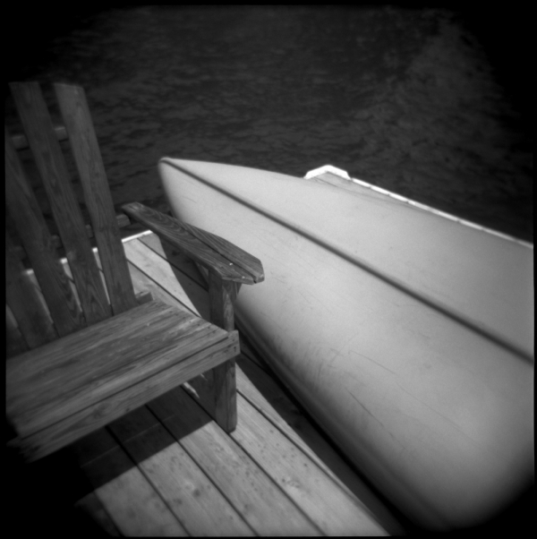 canoe and dock, b&w holga photo