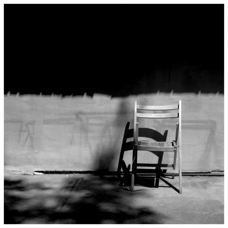 chair and shadow - rolleiflex, b&w photo