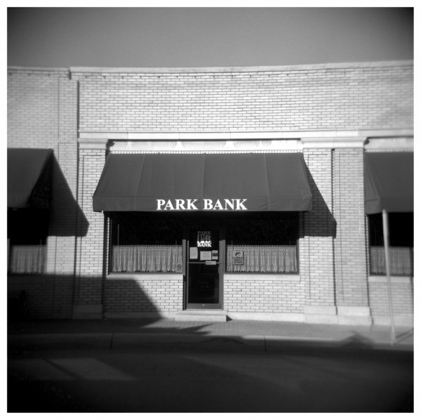park bank - b&w holga photo