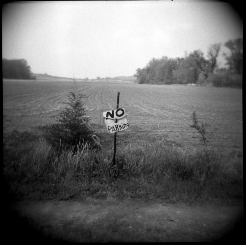 no parking sign, sparks, ks - holga, b&w photo