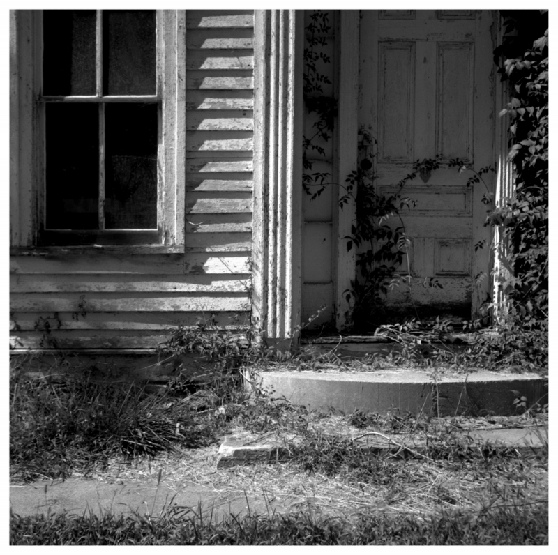 abandoned house: white cloud, ks - b&w photo