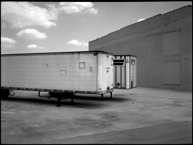 parked trailers - b&w photo, fuji gs645