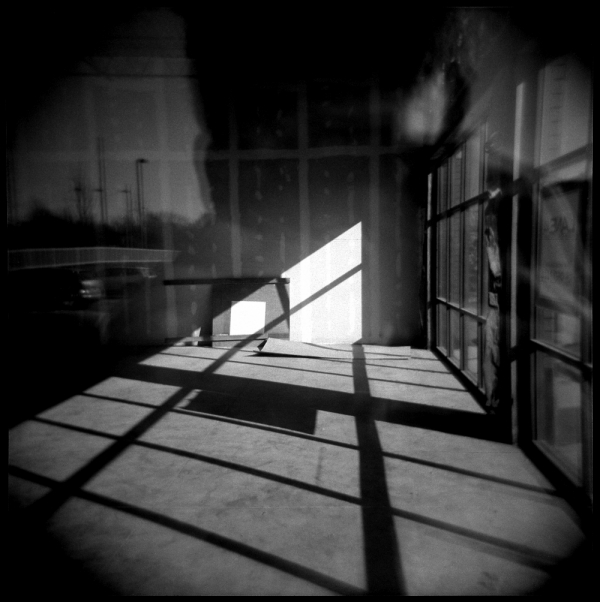 strip mall reflections - holga b&w photo