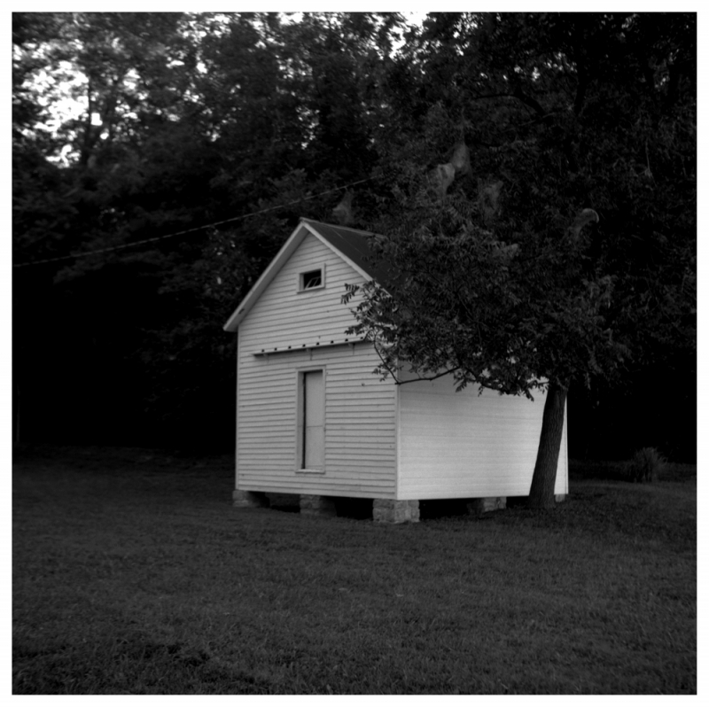 raised shed / wathena, ks - rolleiflex b&w photo