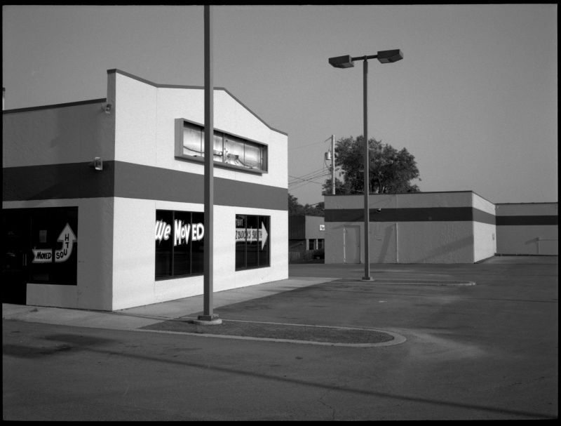 metcalf ave, empty business - b&w photo