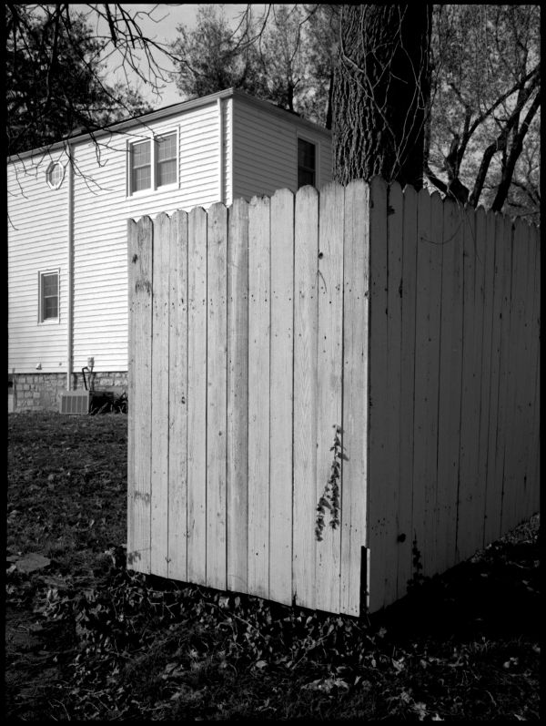 fence & house - b&w photo, fuji gs645