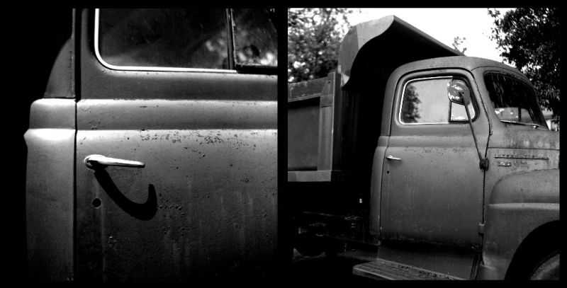 international harvester truck - rolleiflex b&w