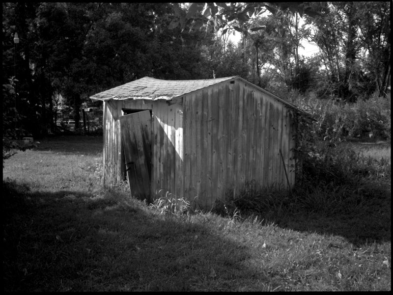 shed in sparks, ks - fuji gs645, b&w photo