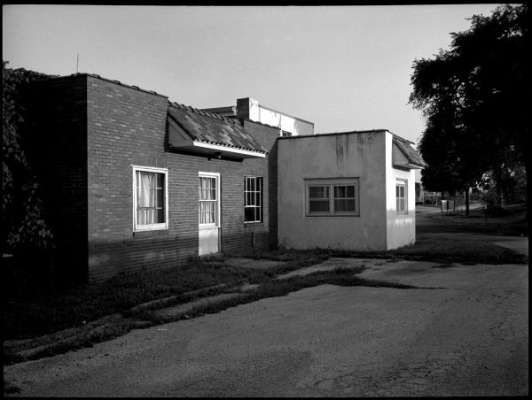 brick & stucco building - op, ks - fuji gs645, b&w