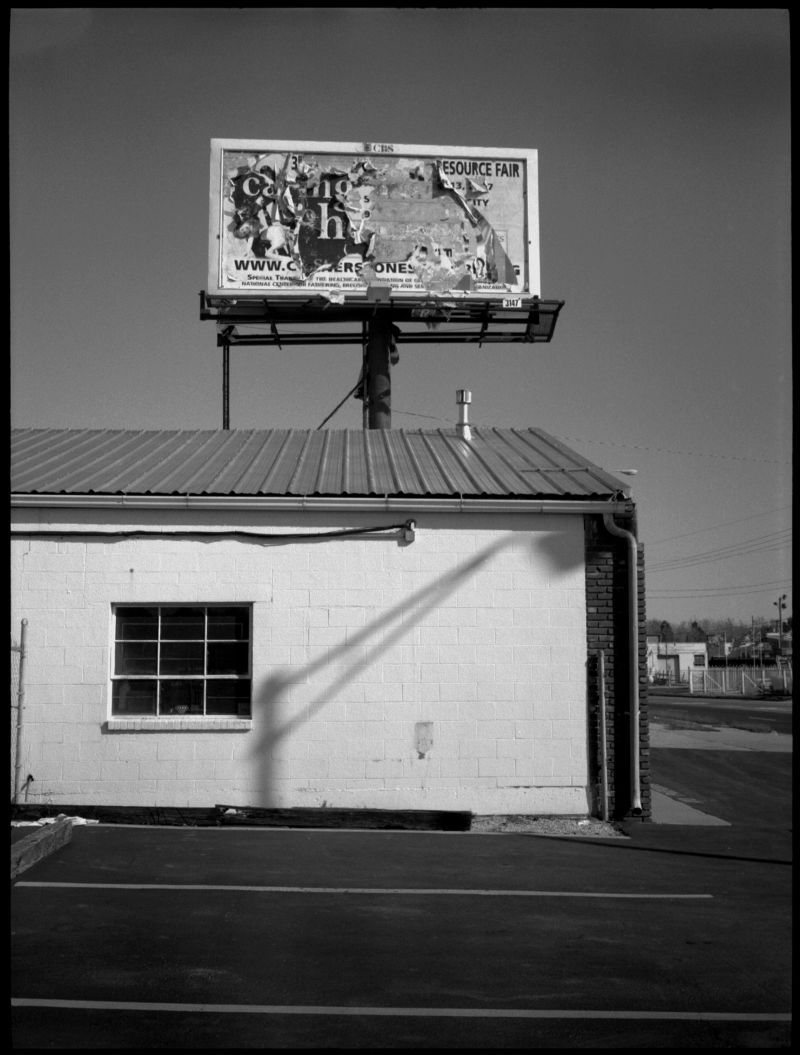 resource fair billboard - fuji gs645, b&w photo