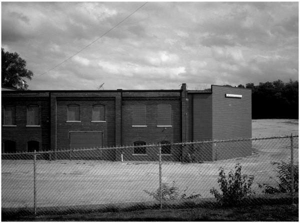 warehouse & fence - b&w photo, fuji gs645