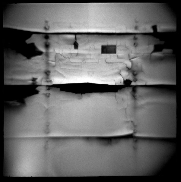 old painted trailer - b&w diana photo