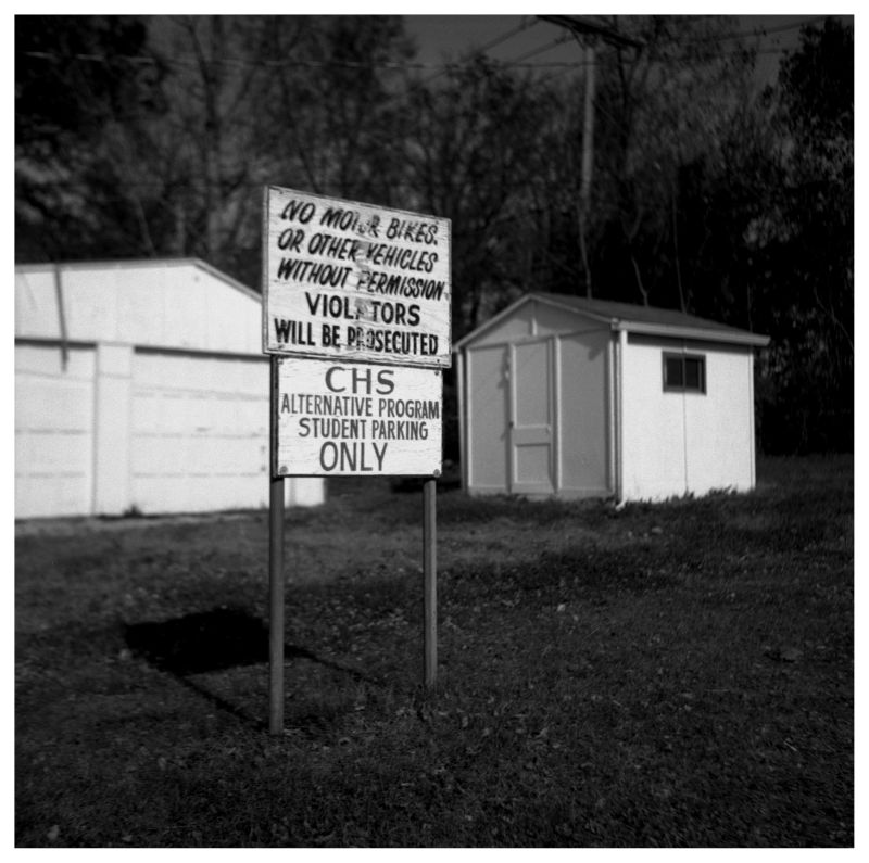 chs sign - b&w photo, rolleiflex