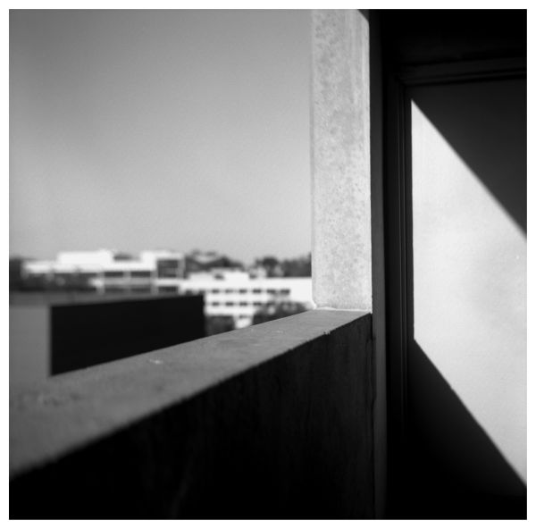 parking garage, sunlight & shadow - rolleiflex