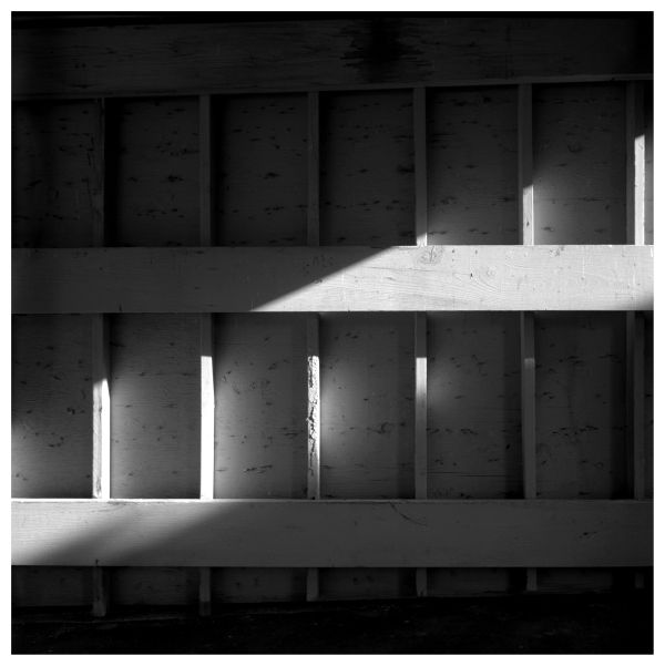 garage interior, afternoon sun - rolleiflex, b&w