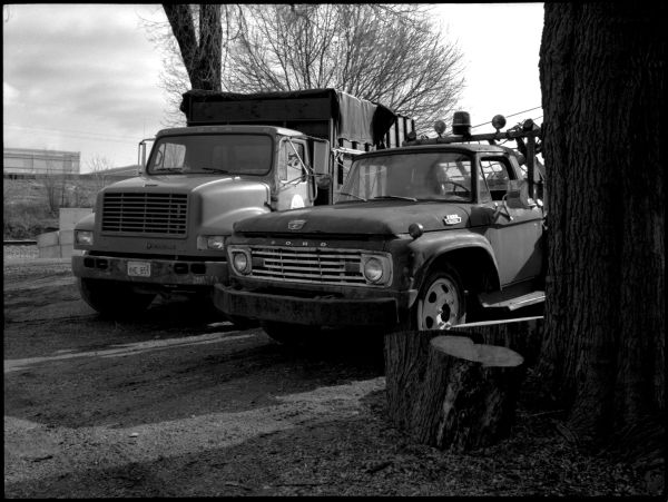 two work trucks, b&w photo, fuji gs645