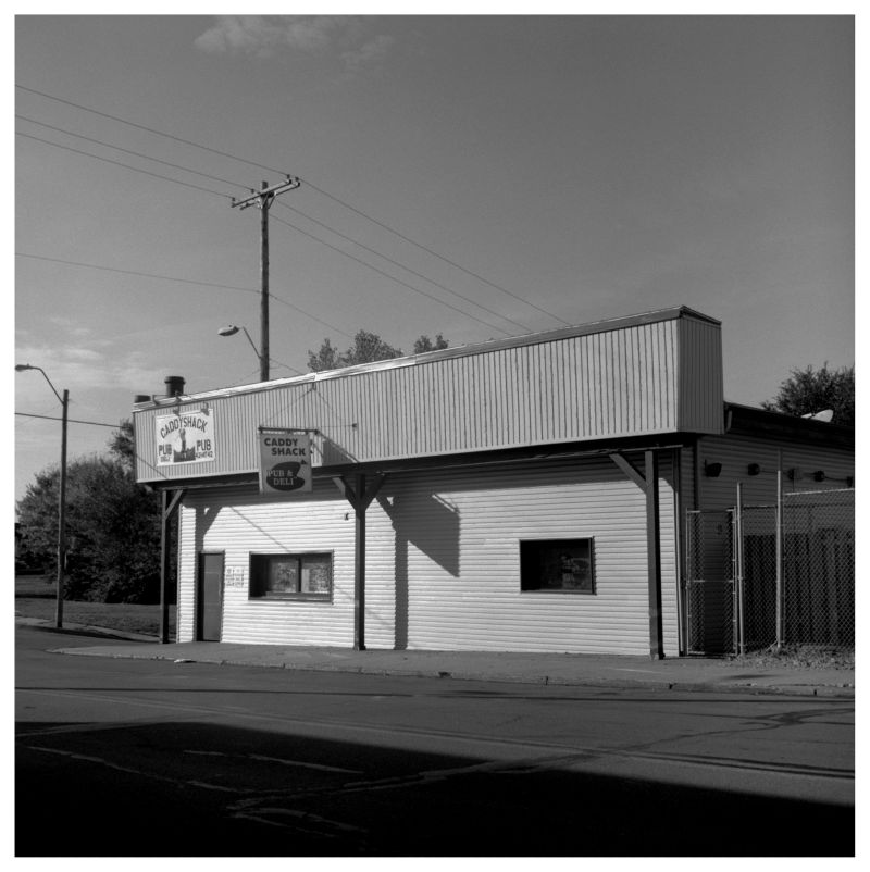 caddy shack bar, kcmo - b&w photo, rolleiflex