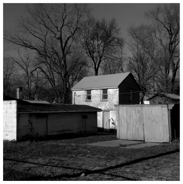 outbuildings at a kcmo house - b&w photo