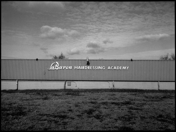 labaron hairdressing academy - op,ks - b&w photo