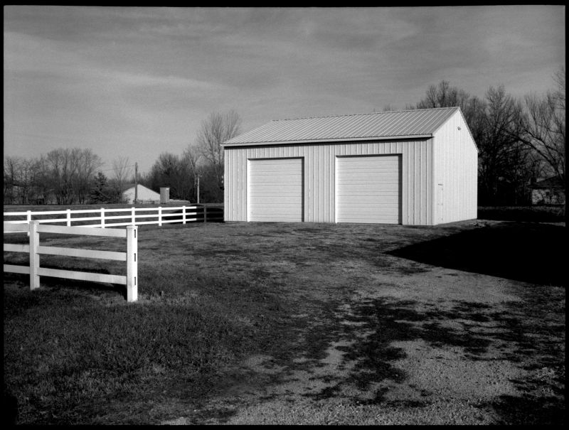 barn and fence, archie, missouri - b&w photo
