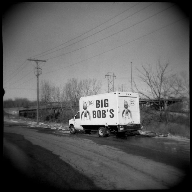 big bob's delivery truck - b&w photo, holga