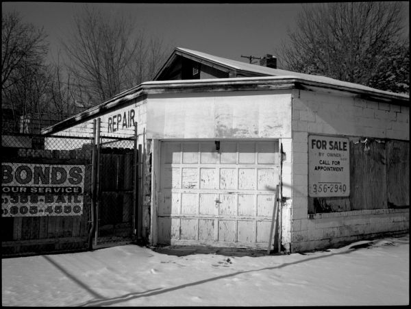 garage for sale - b&w photo - rolleiflex