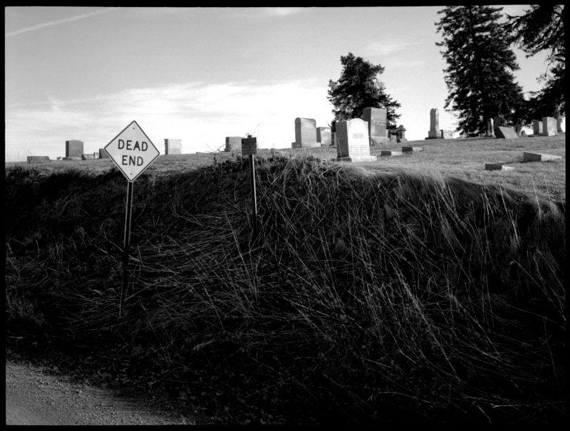 iola, kansas cemetery - b&w photo