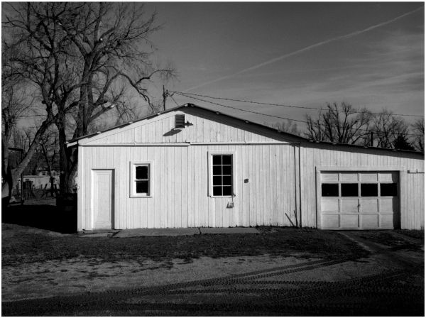 garage / barn - sparks, kansas - b&w photo