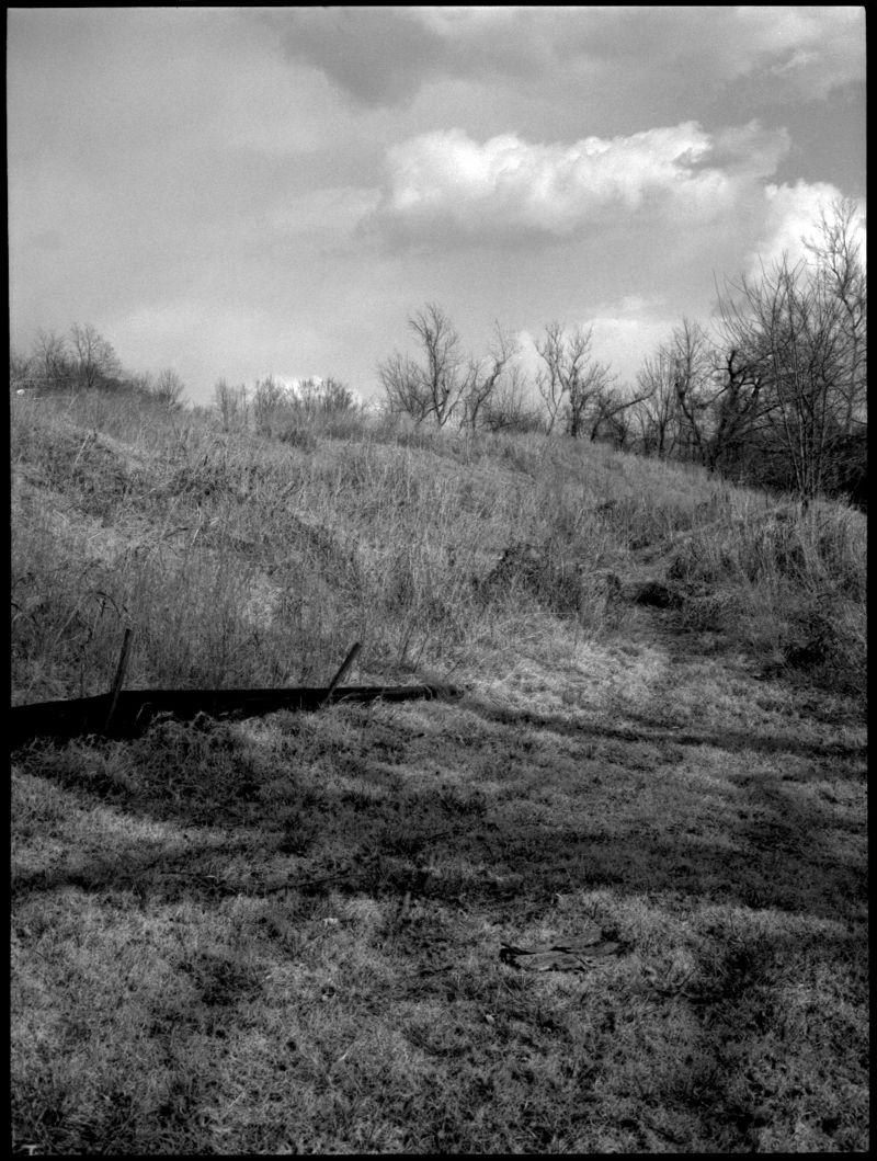 field in winter, longview farm - b&w photo