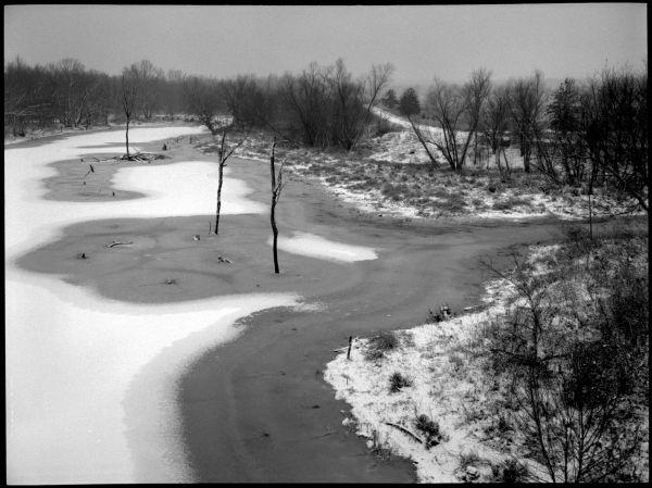 creek in snow - b&w photo - lee's summit, mo