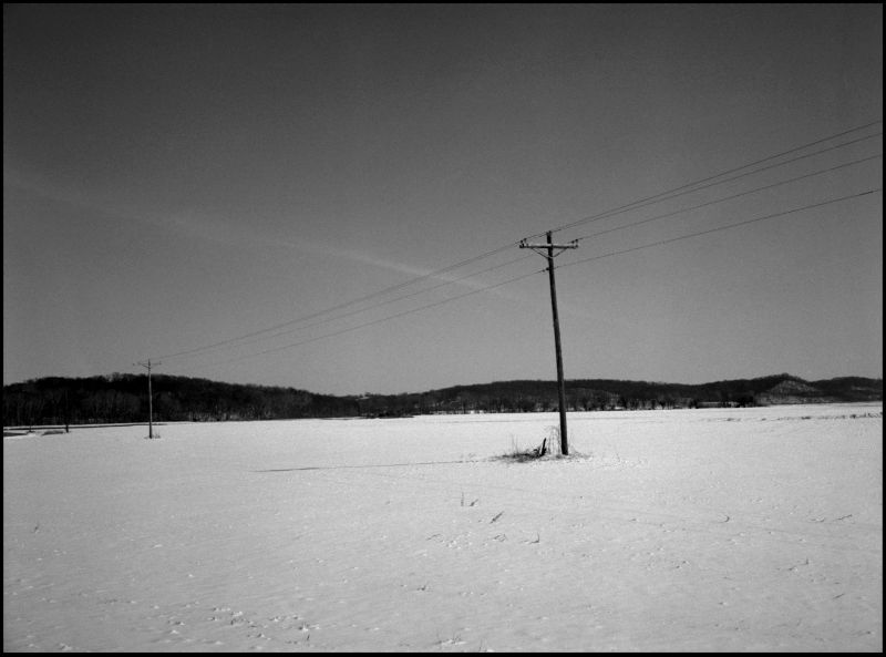 photo, b&w, snow field, rural scene, winter