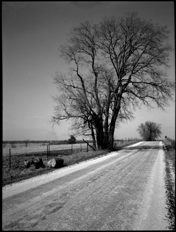 rural road, liberty missouri, photograph, b&w