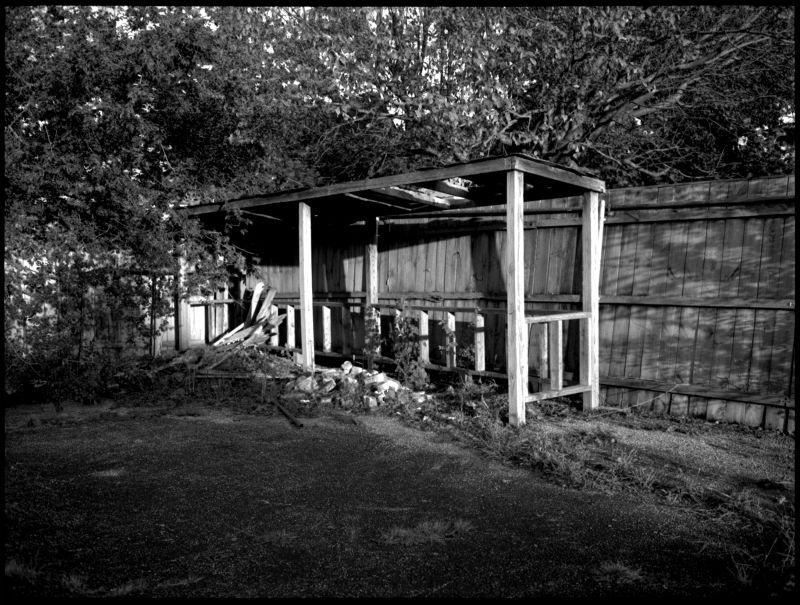 parking shed, overland park kansas, b&w