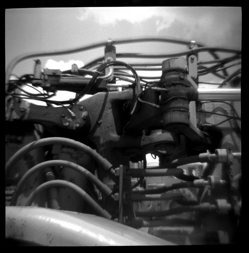 toy camera photo of a bulldozer engine