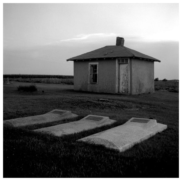 horton, kansas cemetery - black and white photo