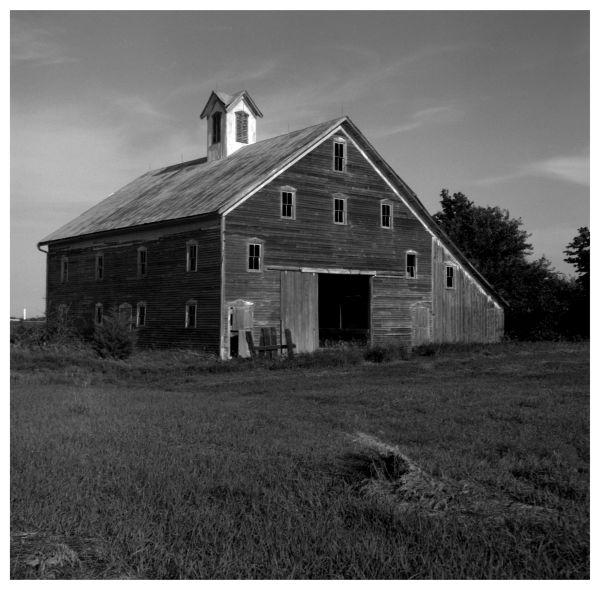 abandoned barn - sabetha, kansas - b&w photo