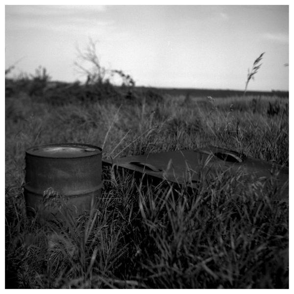 rusty barrel on an abandoned kansas farm