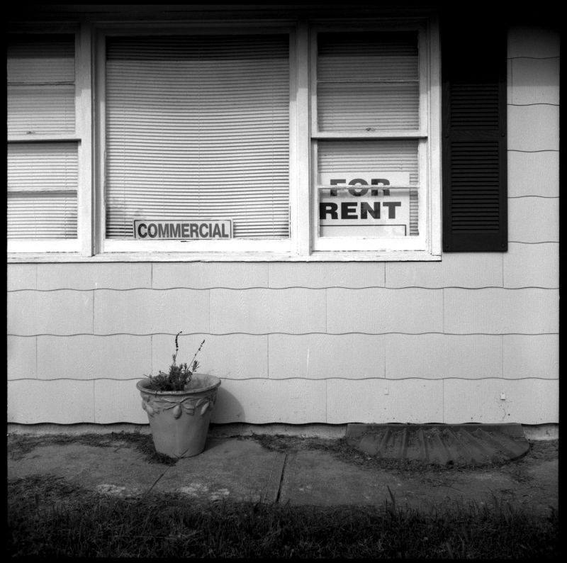 commerical building for rent - b&w photo