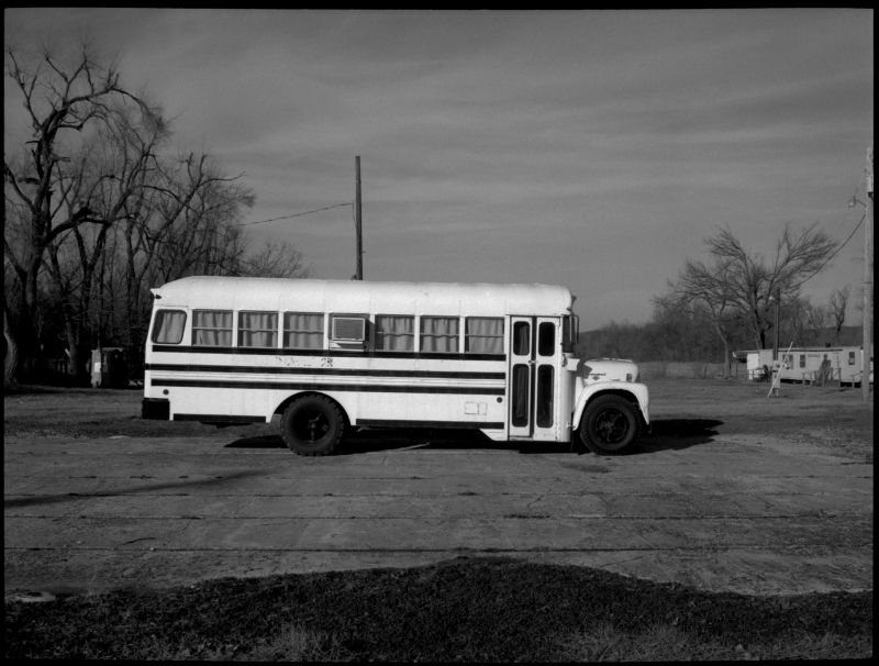 old school bus parked in sparks, kansas
