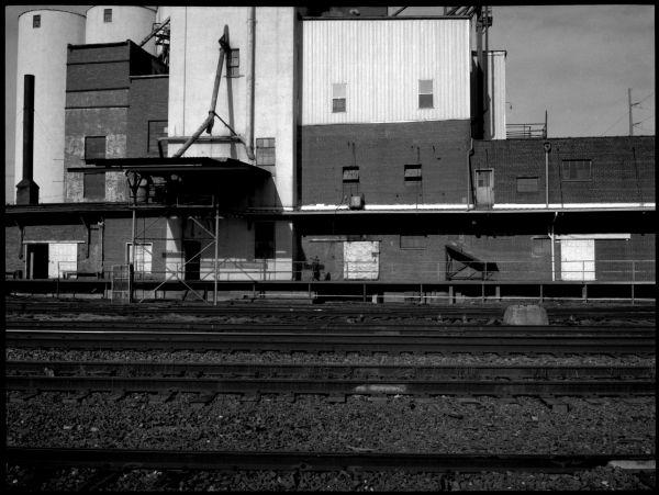 railroad yard in atchison, kansas - photo, b&w