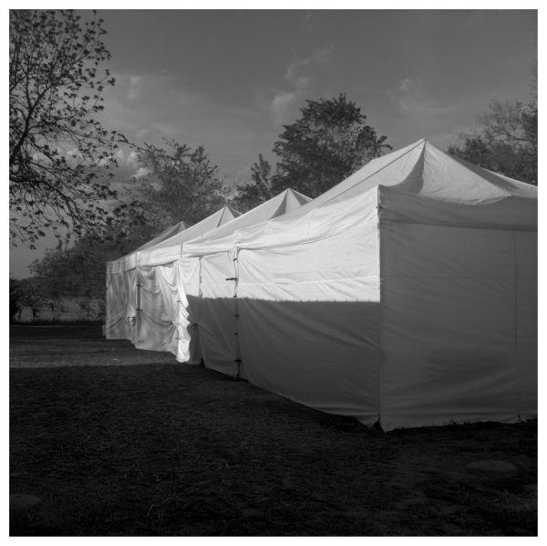 tents at sparks, ks flea market - b&w photograph