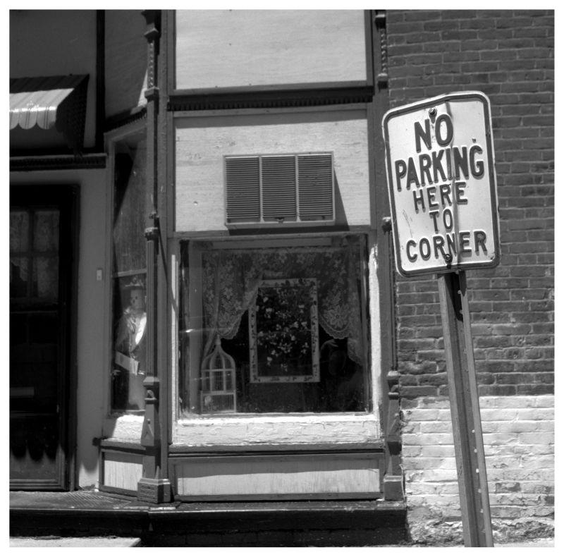 """no parking"" sign - dearborn, mo - rolleiflex b&w"