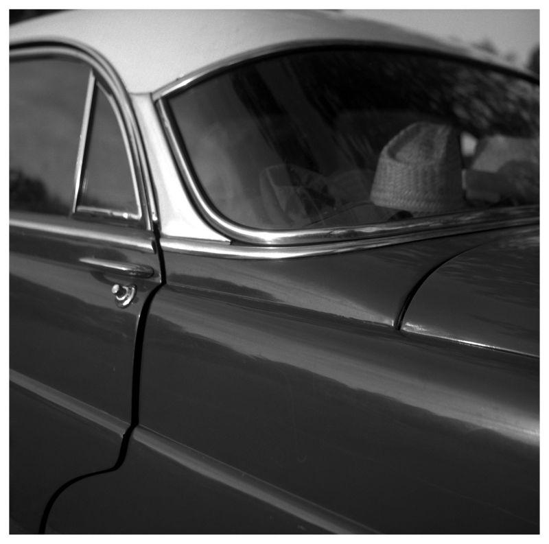 hudson car - rolleiflex b&w photograph