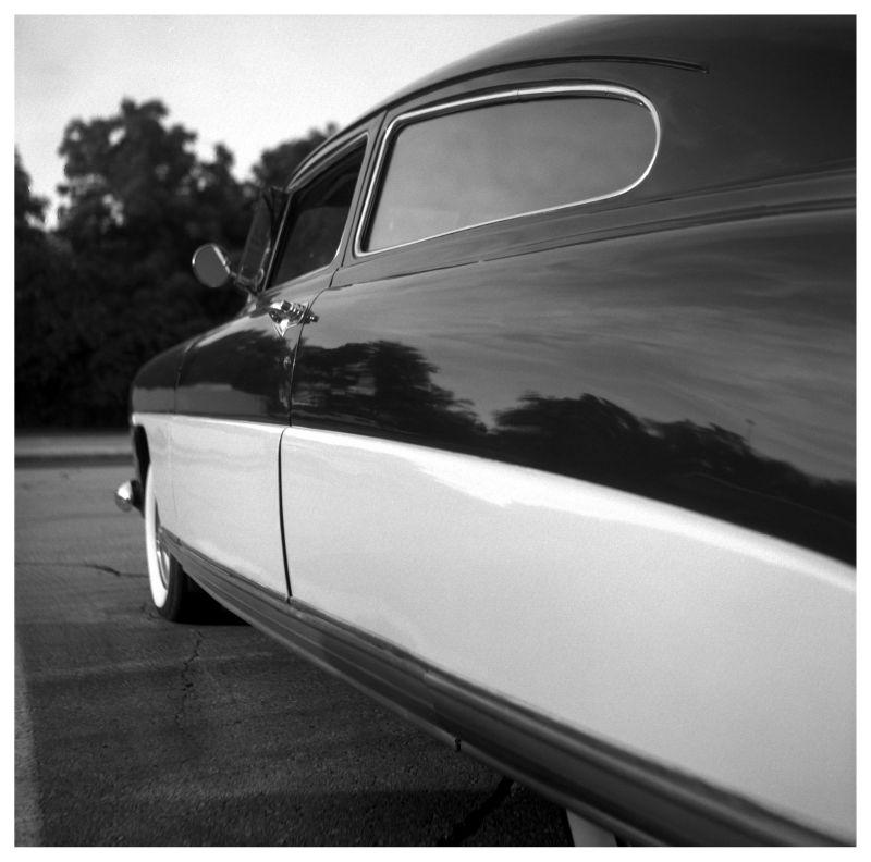 hudson car - rolleiflex photograph b&w